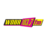 Yellow and pink logo that says WDBR 103.7