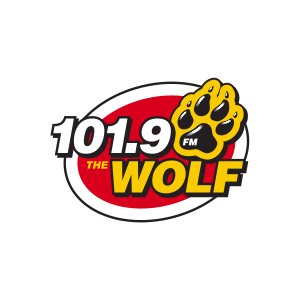 Red and yellow logo with icon of wold paw in the upper right hand corner next to the dial